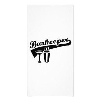 Barkeeper bartender photo card template