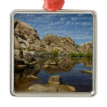 Barker Dam Reflection at Joshua Tree National Park Square Metal Christmas Ornament