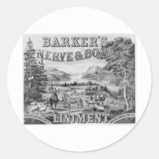 Barker's Liniment 1883 Classic Round Sticker