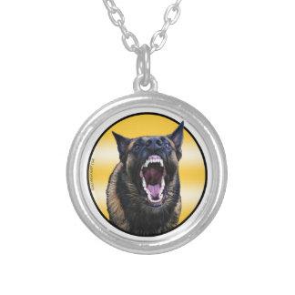 "Barking Belgian Malinois ""Maligator"" Silver Plated Necklace"