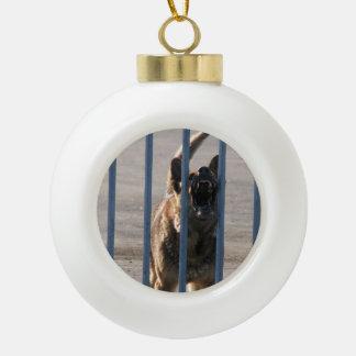 Barking dog ceramic ball christmas ornament