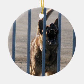 Barking dog ceramic ornament