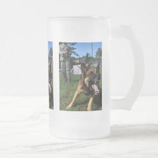 Barking German Shepherd Frosted Glass Beer Mug