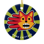 Hand shaped Barking Pointy Ear Red Fox Ceramic Ornament