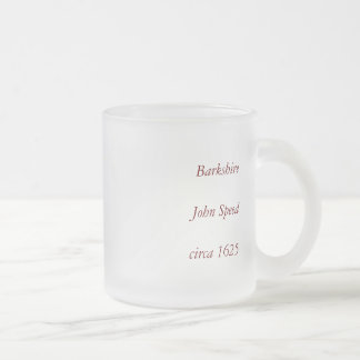 """Barkshire"" Berkshire County Map, England Frosted Glass Coffee Mug"