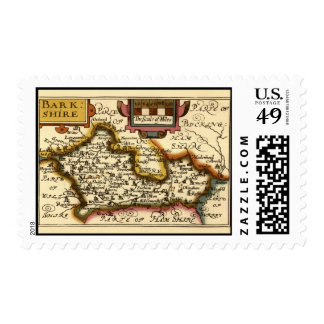 """""""Barkshire"""" Berkshire County Map, England Postage Stamp"""