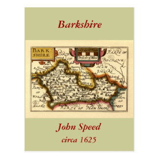 """Barkshire"" Berkshire County Map, England Postcard"