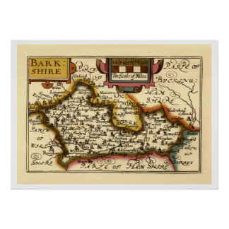 """""""Barkshire"""" Berkshire County Map, England Posters"""