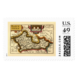 """""""Barkshire"""" Berkshire County Map, England Stamp"""