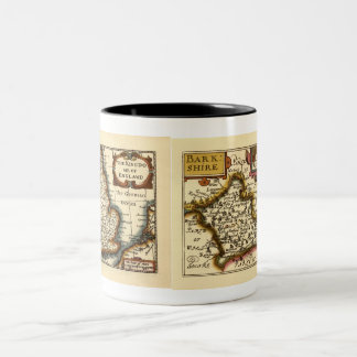 """Barkshire"" Berkshire County Map, England Two-Tone Coffee Mug"