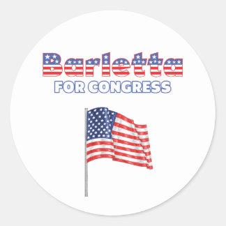 Barletta para la bandera americana patriótica del pegatina redonda