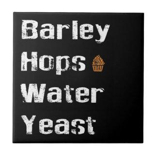 Barley, Hops, Water & Yeast Ceramic Tile