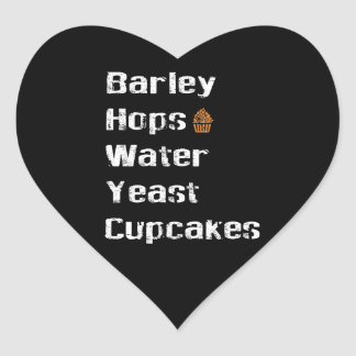 Barley, Hops, Water, Yeast & Cupcakes Heart Sticker