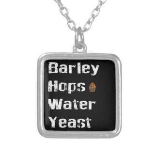 Barley, Hops, Water & Yeast Square Pendant Necklace