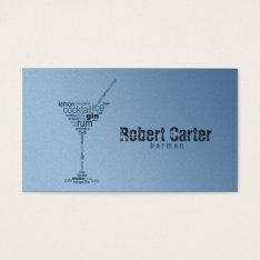 Barman Cocktail Bar Pub Club Glass Martini Card at Zazzle