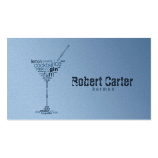 Barman Cocktail Bar Pub Club Glass Martini Card Double-Sided Standard Business Cards (Pack Of 100)