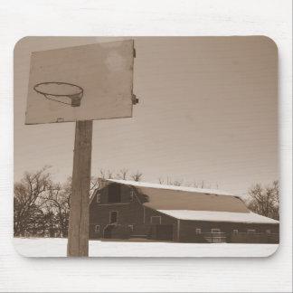 Barn and Basketball hoop sepia tone mousepad
