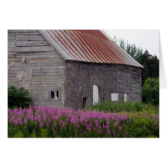 Barn and Flowers Card