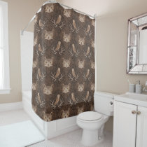 Barn and Hoot Owl Over a Brown Moss Pattern Shower Curtain
