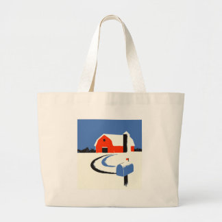 Barn And Mailbox In The Snow Large Tote Bag