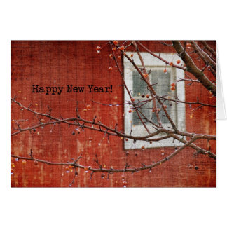 Barn and Tree New Year Card