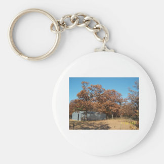 Barn and Trees with Fall Leaves. Keychain