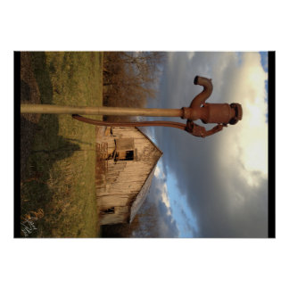 Barn and Water Pump Poster