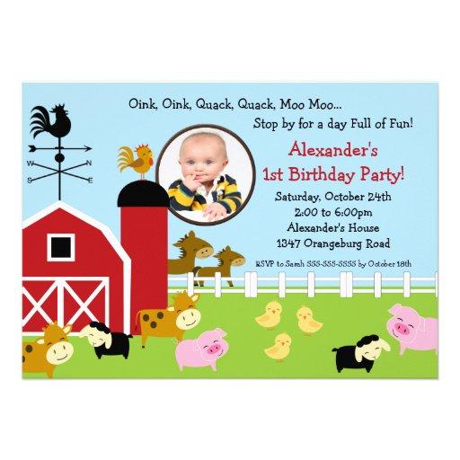 Barn Animal Fun Photo Birthday Party Announcement