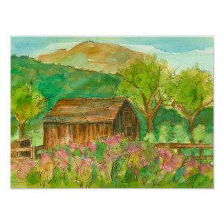 Barn Autumn Landscape Watercolor Painting Poster
