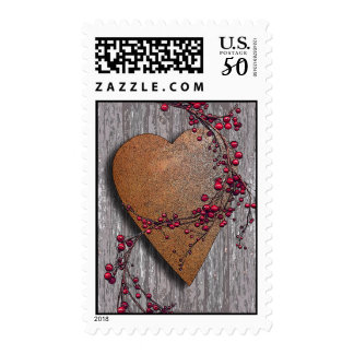Barn Boards Rusted Heart Postage