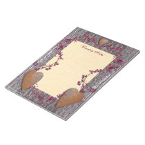 Barn Boards Rusted Hearts Berries Notepad