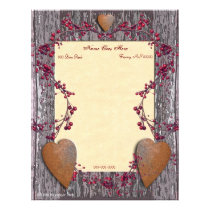 Barn Boards Rusted Hearts Letterhead