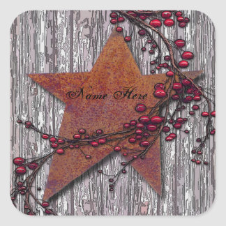 Barn Boards Rusted Star Square Sticker