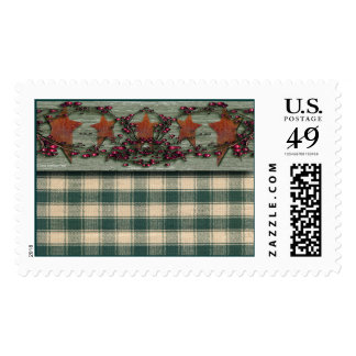 Barn boards Rusted Stars Green Postage