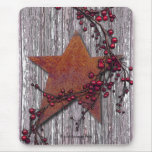 Barn Boards With Rusted Star Mouse Pad
