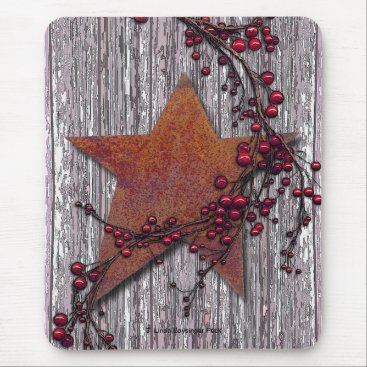 Linda_MN Barn Boards With Rusted Star Mouse Pad