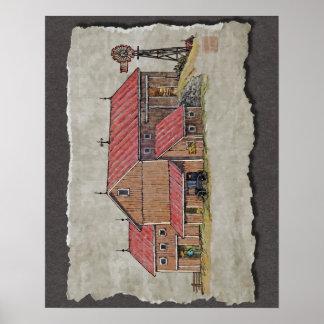 Barn Buggy & Windmill Print