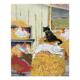 Barn cats napping poster