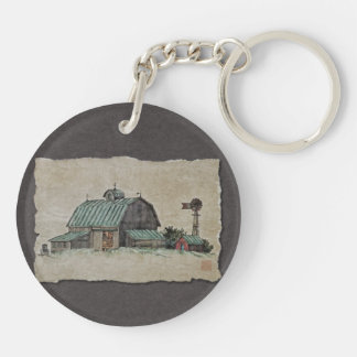 Barn Corn Crib & Windmill Keychain