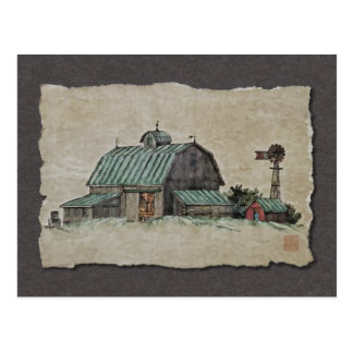 Barn Corn Crib & Windmill Postcard