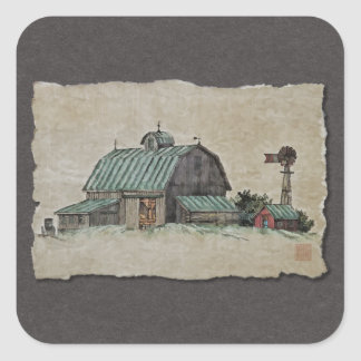 Barn Corn Crib & Windmill Square Sticker