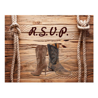 barn Cowboy Boots Western country Wedding rsvp Postcard