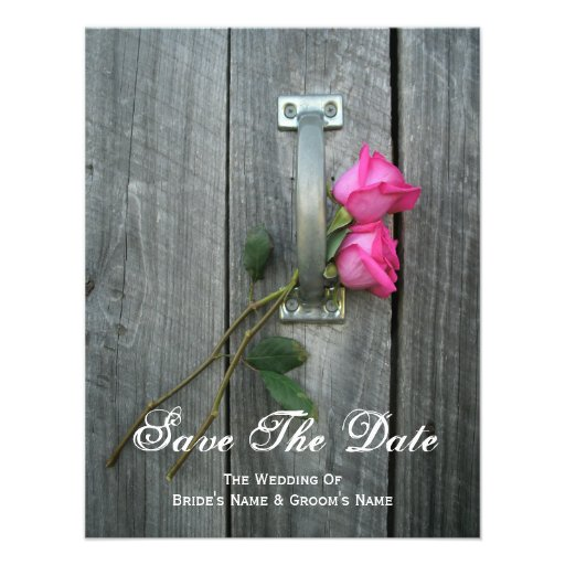 Barn Door and Pink Roses Wedding Save The Date Invites