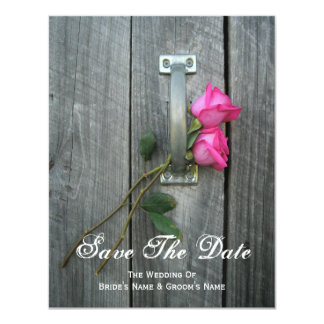 Barn Door and Pink Roses Wedding Save The Date 4.25x5.5 Paper Invitation Card