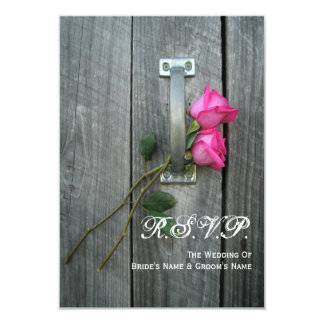 Barn Door and Pink Roses Wedding Small RSVP 3.5x5 Paper Invitation Card