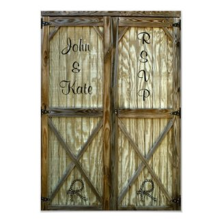 Barn Door Country Wedding RSVP Card