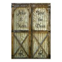 Barn Door Cowboy Wedding Save the Date 3.5x5 Paper Invitation Card (<em>$2.23</em>)