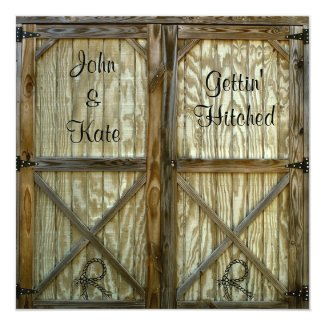Barn Door Cowboy Western Wedding Card