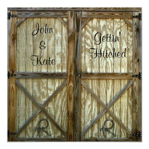 Barn Door Cowboy Western Wedding Invitation