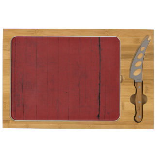 Barn Door Red Wood Background Rectangular Cheeseboard